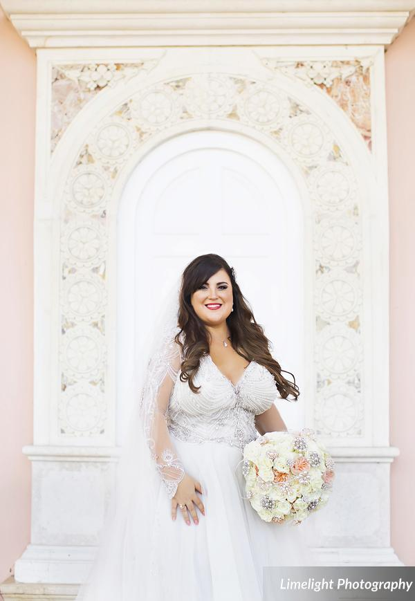 Bride with Bouquet at the Ringling Courtyard