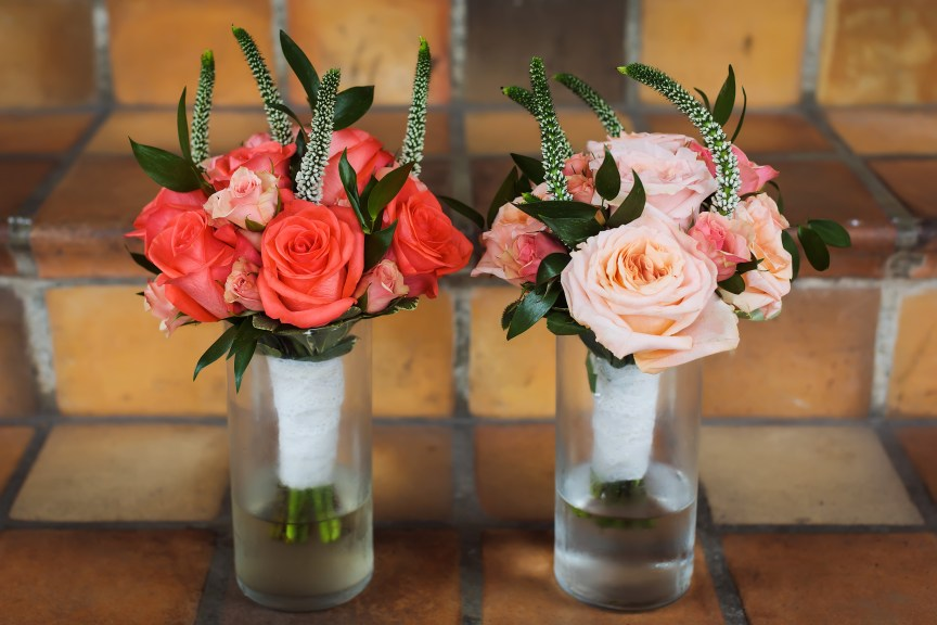 Hand-Tied Bridesmaids Bouquets with Shimmer Roses Coral Spray Roses