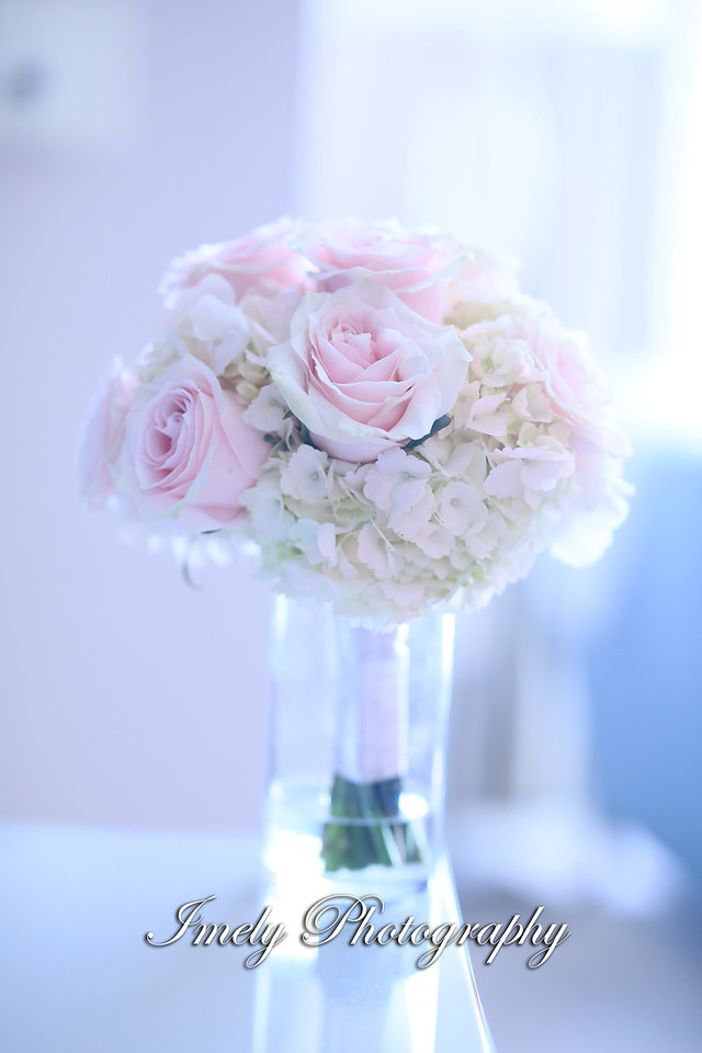 Bridesmaids Bouquet of Hydrangea and Pink Roses