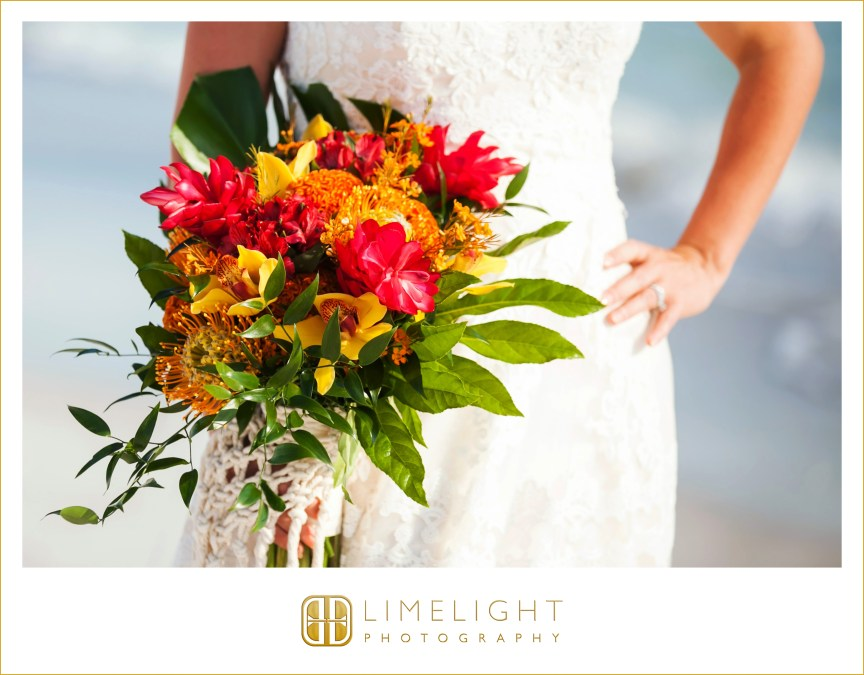 Tropical Bridal Bouquet with Red Ginger, Birds of Paradise, Celosia, Cymbidium Orchids