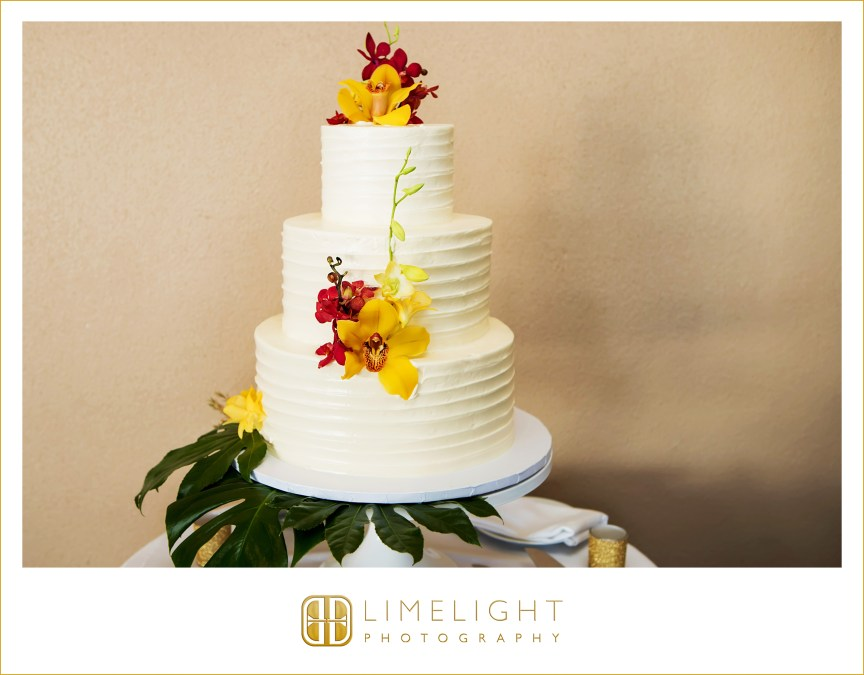 Tropical Wedding Cake with Fresh Orchids and Greens