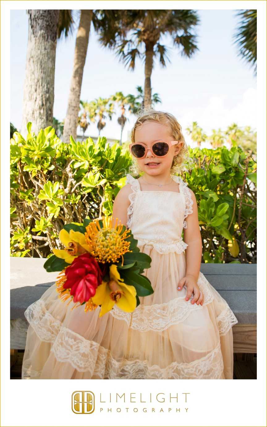 Flower Girl with Tropical Bouquet to match Mother's Bouquet