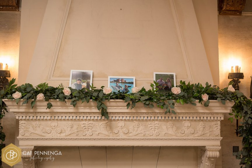 Mantle with Garland and Garden Roses