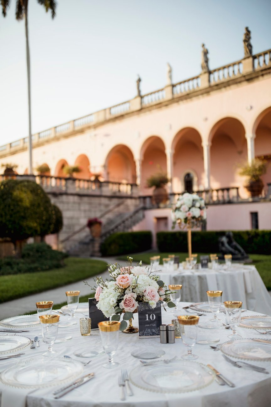 Picture of Both Guest Table Centerpieces in Ringling Courtyard