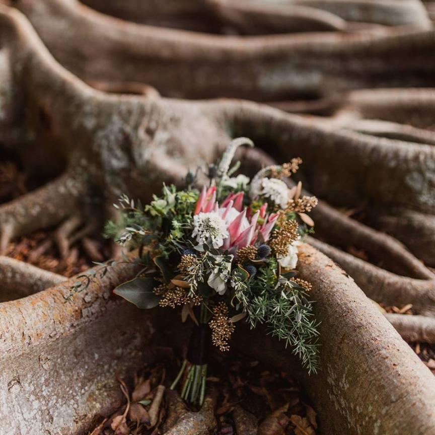 Bridesmaid's Bouquet with Protea, Thistle, Gold Berries, Scabosia, Veronica, Eucalyptus