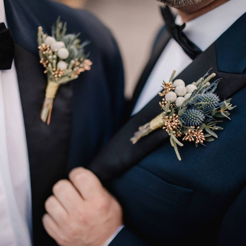 Close-Up of Groom's Boutonnieres