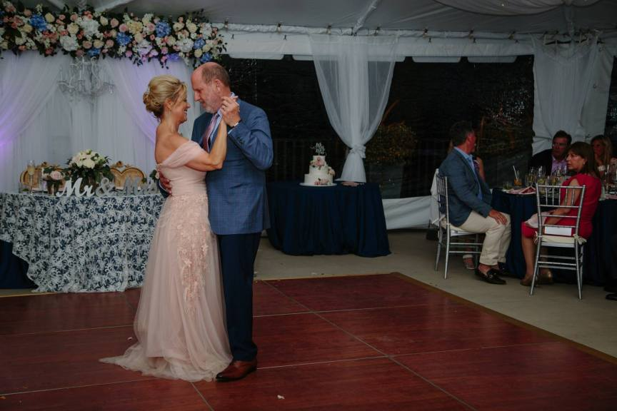 Bride and Groom On Dance Floor in Front of Sweetheart Table