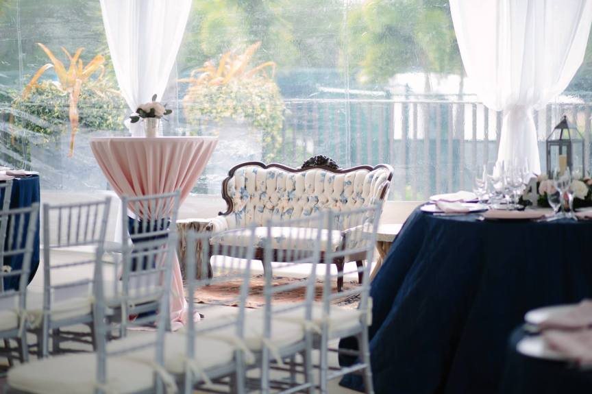 Hi-top and Lantern arrangements on tables