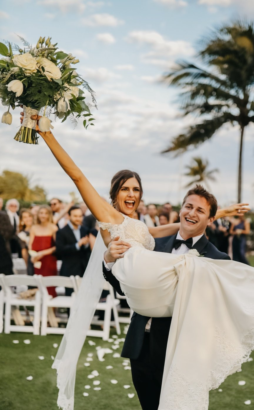 Bride and Groom Celebrating!
