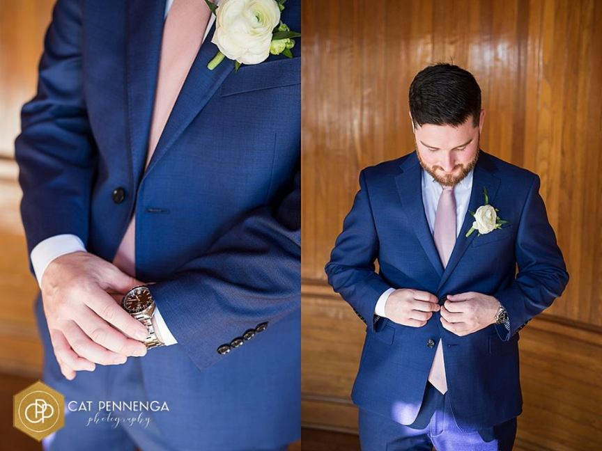 Groom with Double Spray Rose Boutonniere