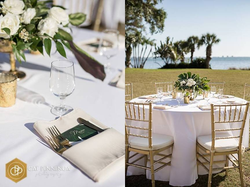 Close Up of Reception Table with Gold Votive and Picture of Guest Table with Bay Backdrop