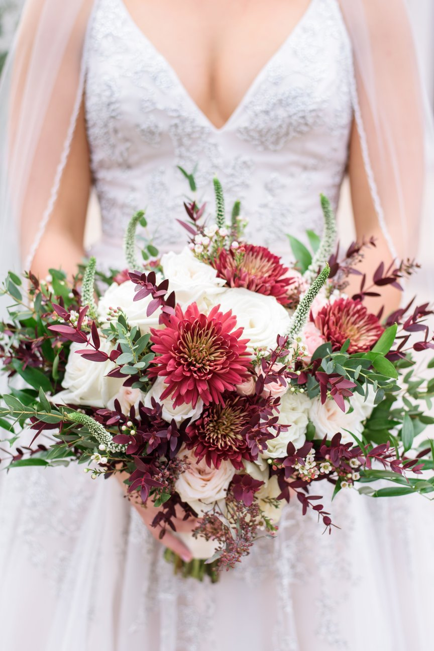 Close up of Garden Look Bridal Bouquet with Burgundy, Blush, and Creams