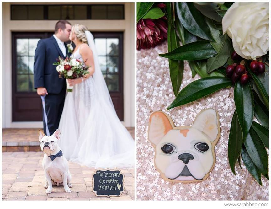 Happy Couple with Beloved Dog and Dog Cookie Favors!