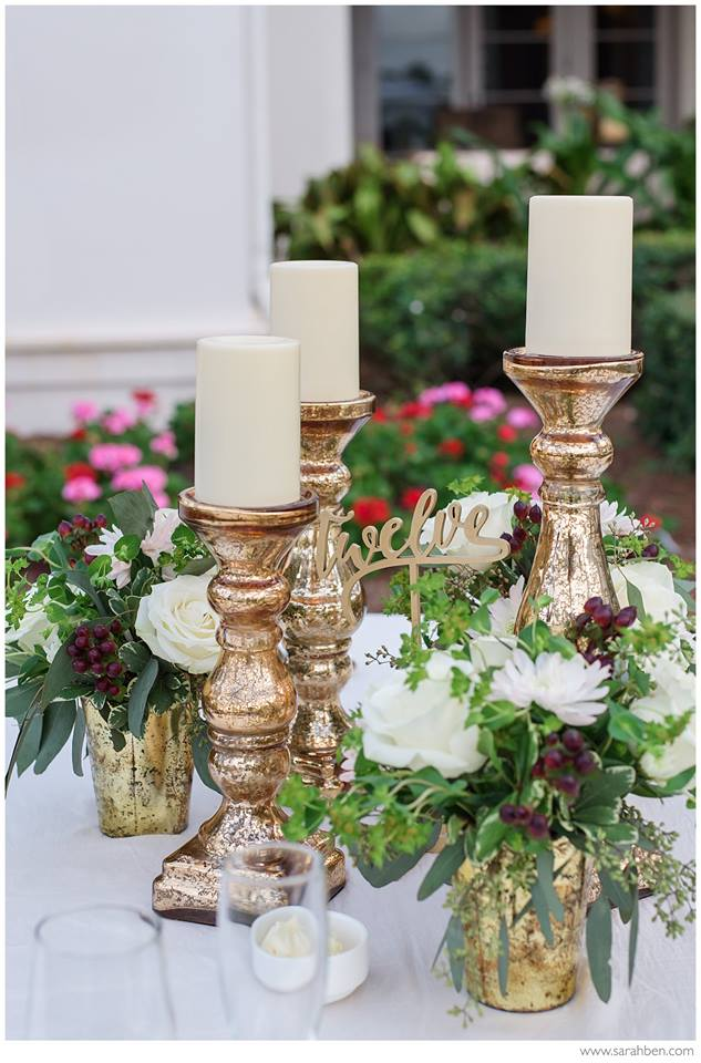 Guest Table Centerpiece with Gold Table Number