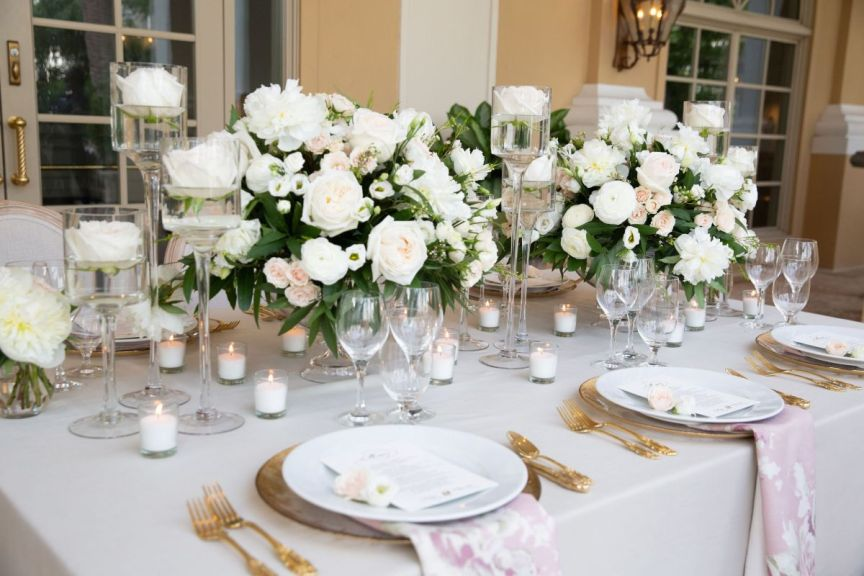 Feasting Table with Floral Centerpieces