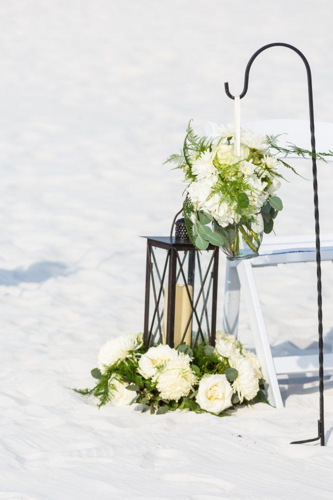 Aisle Lantern with Floral Pompadours on Shepherd Hooks