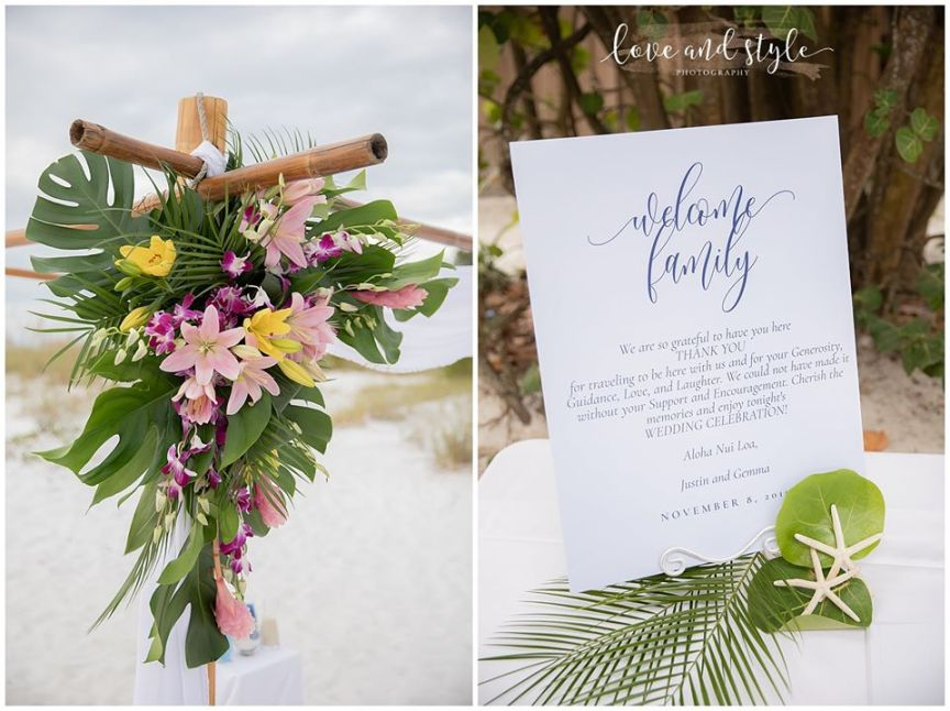 Ceremony Arch Flowers and Welcome Letter