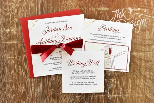 Rich Red Wedding Invitation Set