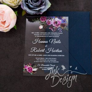 Purple Floral Acrylic Invitation UV Printed 2mm