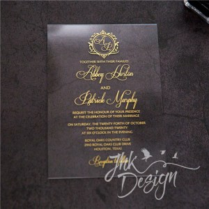 Gold Acrylic Invitation UV Printed 2mm
