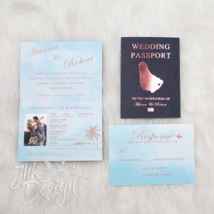 Foil Destination Wedding Passport Invitations in Rose Gold Design