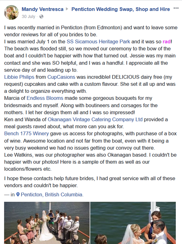 Okanagan Vintage SS Sicamous Review Wedding Vendors