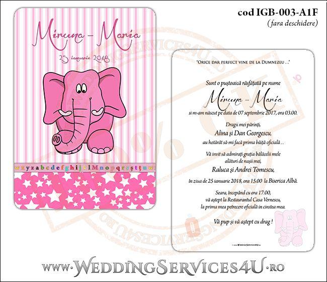 Invitatie de Botez cu elefantel si fundal roz in dungi cu stelute IGB-003-A1F