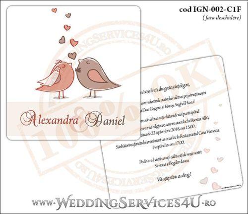 Invitatie de Nunta lovebird cu vrabiute si inimioare model patrat IGN-002-C1F