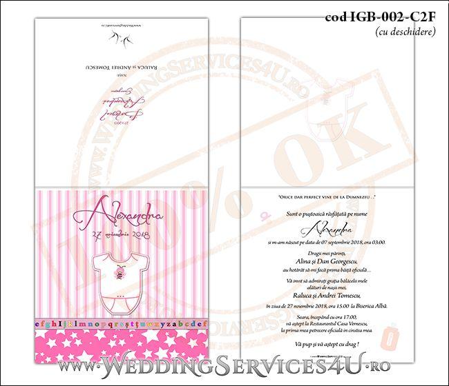 Invitatie de Botez cu body de bebelusi si fundal roz in dungi cu stelute IGB-002-C2F