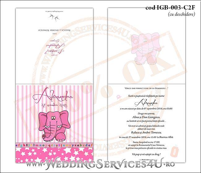 Invitatie de Botez cu elefantel si fundal roz in dungi cu stelute IGB-003-C2F