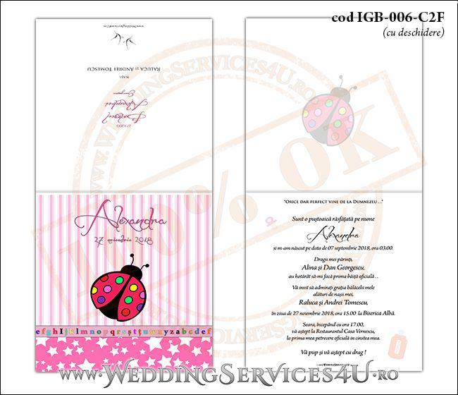 Invitatie de Botez cu gargarita si fundal roz in dungi cu stelute IGB-006-C2F