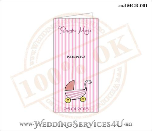 Meniu de Botez cu carucior de copii si fundal roz in dungi MGB-001