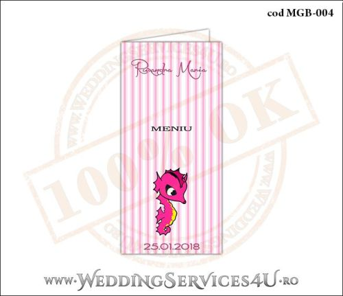 Meniu de Botez cu calut de mare si fundal roz in dungi MGB-004