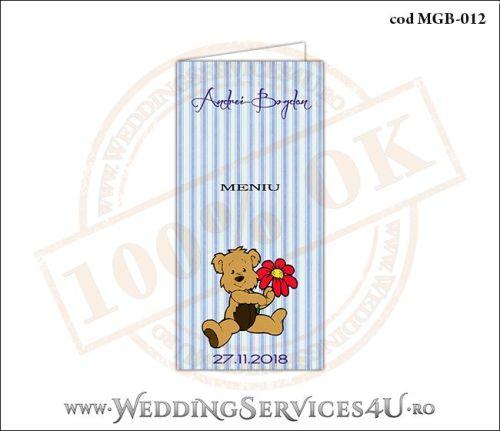 Meniu de Botez cu ursulet si fundal albastru in dungi MGB-012