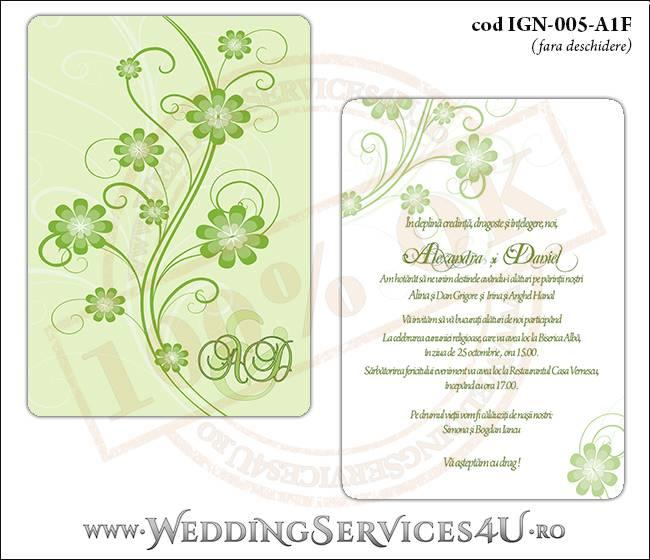 IGN-005-A1F Invitatie Nunta Botez cu flori in nunate de verde