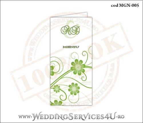 MGN-005 Meniu Nunta Botez cu flori in nuante de verde