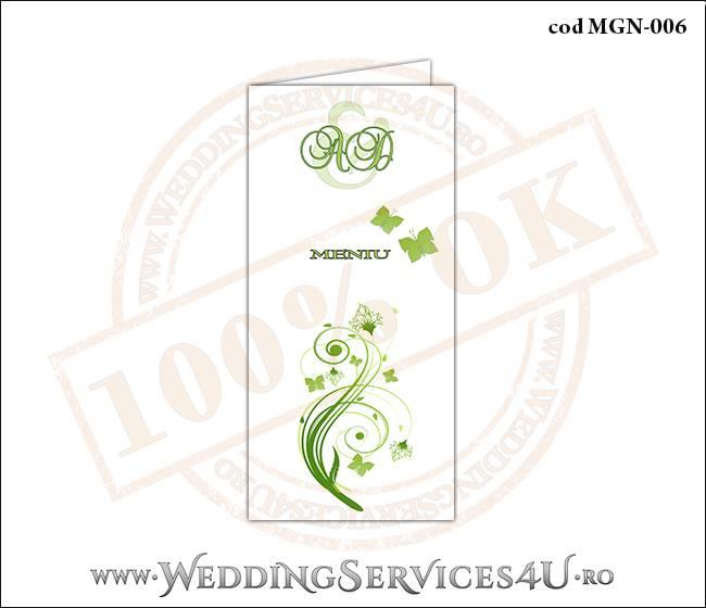 MGN-006 Meniu Nunta Botez cu flori si fluturi in nuante verzi