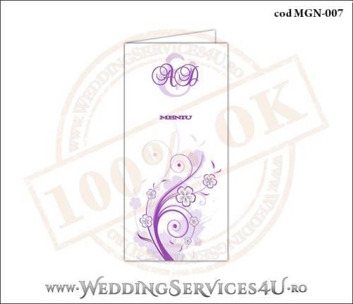 MGN-007 Meniu Nunta Botez cu flori mov lila violet