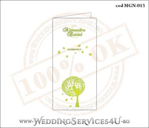 MGN-013 Meniu Nunta Botez cu un copac verde plin de frunze si doua vrabiute