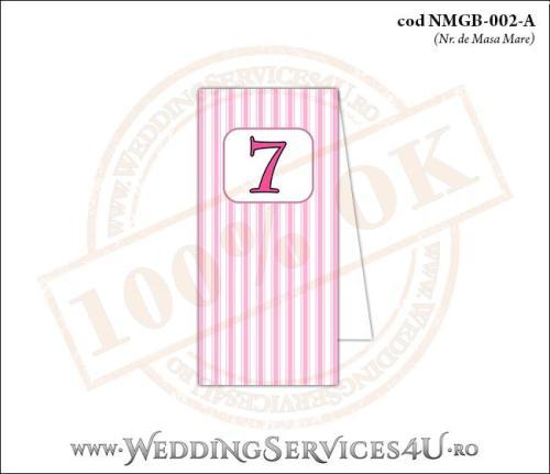 NMGB-002-A Numar de Masa pentru Botez cu dungi roz