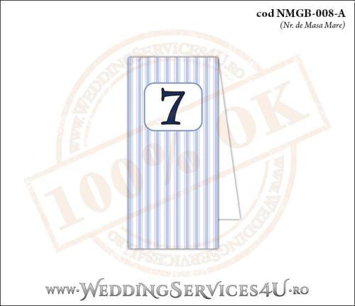 NMGB-008-A Numar de Masa pentru Botez cu dungi albastre