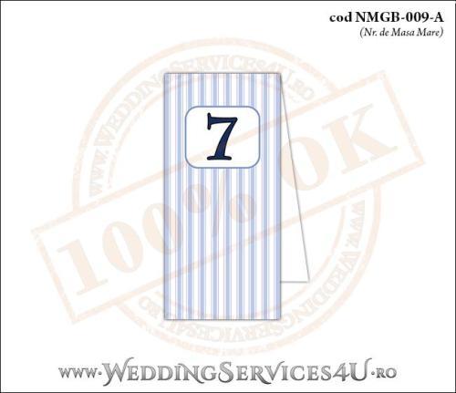 NMGB-009-A Numar de Masa pentru Botez cu dungi albastre