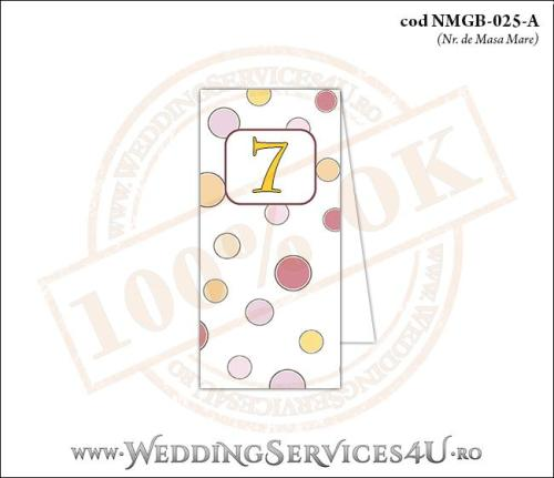 NMGB-025-A Numar de Masa pentru Botez cu buline colorate
