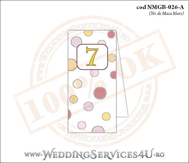 NMGB-026-A Numar de Masa pentru Botez cu buline colorate