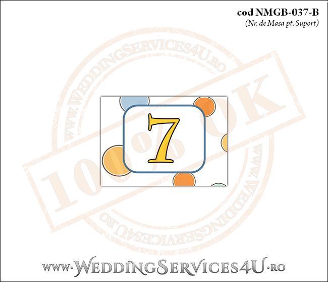 NMGB-037-B Numar de Masa pentru Botez cu buline colorate