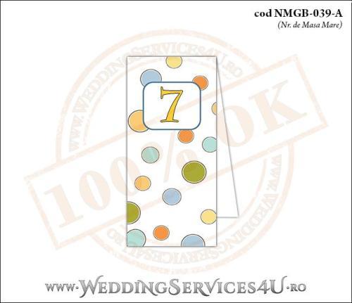 NMGB-039-A Numar de Masa pentru Botez cu buline colorate