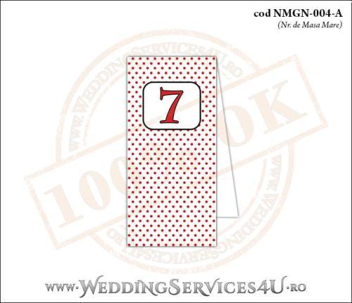 NMGN-004-A Numar de Masa pentru Nunta sau Botez vintage cu buline rosii