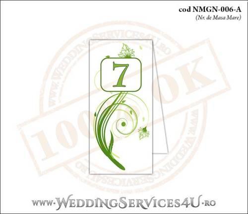 NMGN-006-A Numar de Masa pentru Nunta sau Botez cu flori si fluturi in nuante verzi