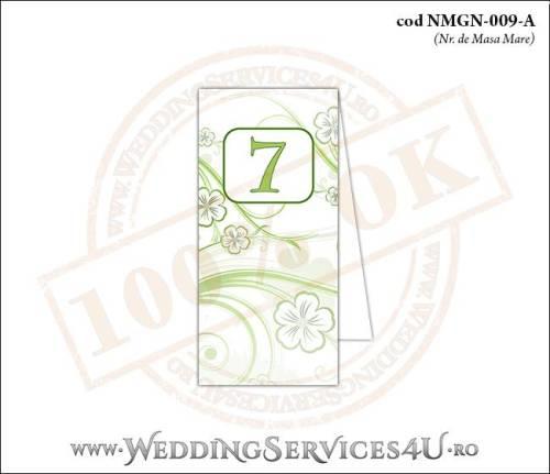NMGN-009-A Numar de Masa pentru Nunta sau Botez cu flori albe cu contur verde