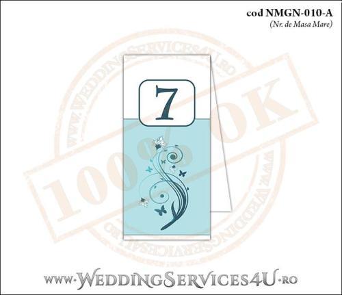 NMGN-010-A Numar de Masa pentru Nunta sau Botez cu flori si fluturi in nuante de turcoaz